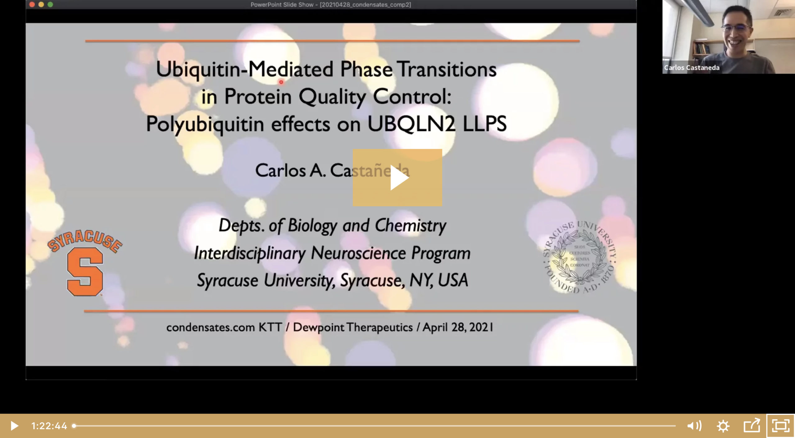 Carlos Castañeda on Ubiquitin-Mediated Phase Transitions in Protein Quality Control